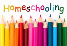 Pencil Crayons with text Homeschooling Stock Photos