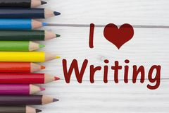 Free Pencil Crayons With Text I Love Writing Royalty Free Stock Images - 75503009