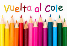 Free Pencil Crayons With Text Vuelta Al Cole - Back To School In Span Royalty Free Stock Photography - 75186187