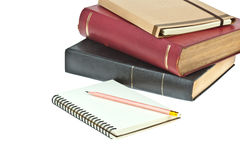 Pencil on, cream colored paper notebook Royalty Free Stock Photos