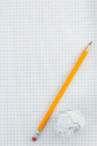 Pencil and crumpled paper ball Royalty Free Stock Photos