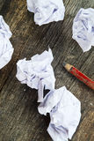 Pencil and crumpled paper Royalty Free Stock Photos