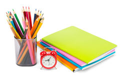 Pencil cup with crayons Royalty Free Stock Photo
