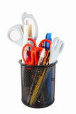 Pencil cup filled with colorful pens and scissors Royalty Free Stock Photo