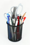 Pencil Cup Filled With Colorful Pens And Scissors Royalty Free Stock Image