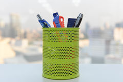 Pencil cup holder Royalty Free Stock Photo