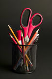 Pencil cup with office items Royalty Free Stock Photography