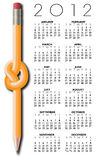 Pencil Design 2012 Calendar. Calendar for the year 2012 with a knotted pencil illustration Stock Images
