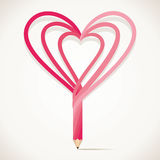Pencil is design with heart shape Stock Photos