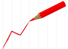 Pencil draw diagram. Red pencil draw business diagram Stock Photos
