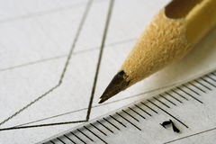 Pencil draw graph Royalty Free Stock Image