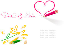 Pencil draw heart and flower. Drawing daisy flower and heart shape  isolated on white Royalty Free Stock Photo