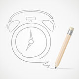 Pencil drawing Alarm clock Royalty Free Stock Image