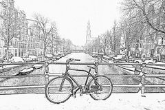Pencil drawing from Amsterdam covered with snow with the Westerkerk in winter in the Netherlands stock photo