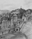Pencil Drawing of Antique Theatre in Plovdiv Stock Photography
