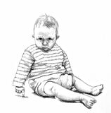 Pencil drawing of baby Royalty Free Stock Image
