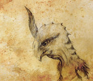 Pencil drawing bird dragon on old paper background. Pencil drawing bird dragon on old paper background Royalty Free Stock Photography