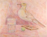 Pencil drawing. Of bird and glass in colours Royalty Free Stock Photo