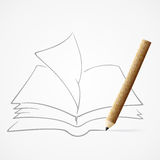 Pencil drawing Book Royalty Free Stock Image