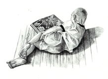 Pencil Drawing of Boy Reading Book. A pencil drawing of a little boy lying on the floor, reading a big book Stock Photography