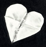 Pencil Drawing of Broken Paper Heart Mended Stock Photos