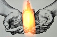 Pencil drawing. Candle  and a real fire Stock Photo