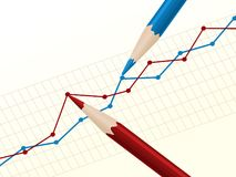 Pencil drawing the chart. Illustration of red and blue pencils drawing the business chart Stock Photo