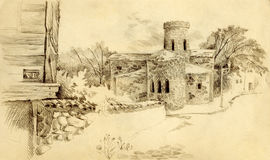 Pencil drawing. Cityscape with the old church Royalty Free Stock Image