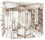 Pencil drawing of a classic library with a fireplace vector illustration