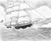 Pencil Drawing Clipper Ship Royalty Free Stock Photo