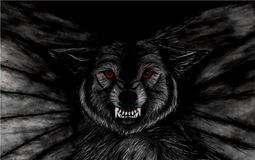 Pencil drawing of closeup of a menacing black flying wolf with red eyes on black background stock illustration