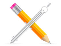 Pencil and drawing compass icon Stock Photo