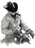 Pencil Drawing of Cowboy on Horse Stock Images