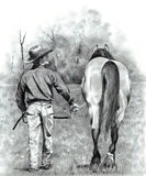 Pencil Drawing of Cowboy Leading Horse. A pencil drawing of a cowboy horse trainer taking a horse through its paces, as seen from behind Royalty Free Stock Image