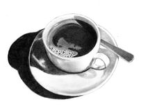 Pencil Drawing of Cup of Coffee. A realism pencil drawing of a cup of coffee on a saucer Royalty Free Stock Image