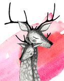 A pair of deer on a watercolor background. Pencil drawing deers mom and baby on a watercolor background Royalty Free Stock Photos