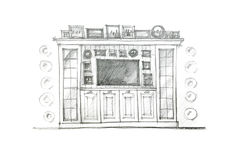 Pencil drawing design of a piece of furniture for living room Royalty Free Stock Photo
