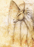 Pencil drawing dragon on old paper background. Pencil drawing dragon on old paper background Stock Photos