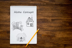 Pencil drawing the dream home on a white sheet of Stock Photo
