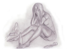 Pencil drawing of drunk woman Stock Images