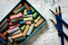 Pencil drawing EE , Colored chalk , paper art Royalty Free Stock Photography