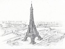 Pencil Drawing Eiffel Tower Royalty Free Stock Photography