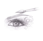 Pencil drawing of eye makeup. Stock Photography
