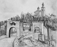 Pencil Drawing of Fortress Tsarevets in Veliko Tarnovo Stock Photo