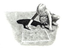 Pencil Drawing of Girl Playing Hopscotch. A pencil drawing of a little, blond girl drawing a grid on the pavement for a game of hopscotch, created in the realism Royalty Free Stock Images