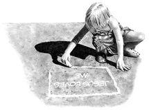 Pencil Drawing of Girl Writing on Pavement. This is my pencil drawing of a little girl drawing on the pavement with chalk, and writing the words: Jesus loves me Stock Image