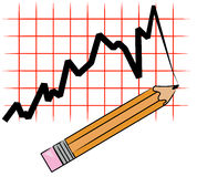 Pencil drawing graph. Pencil drawing line graph on grid - vector Royalty Free Stock Photography