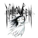 Pencil drawing of a Halloween Title Stock Photo