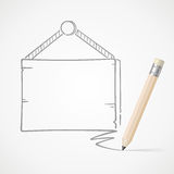 Pencil drawing hanging board Stock Photo