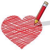Pencil drawing a heart Royalty Free Stock Photo